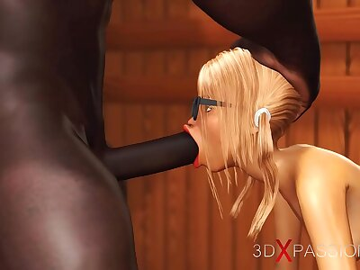 3dxpassion.com. Nerdy girl in glasses gets fucked wide of malignant basketball player in sauna